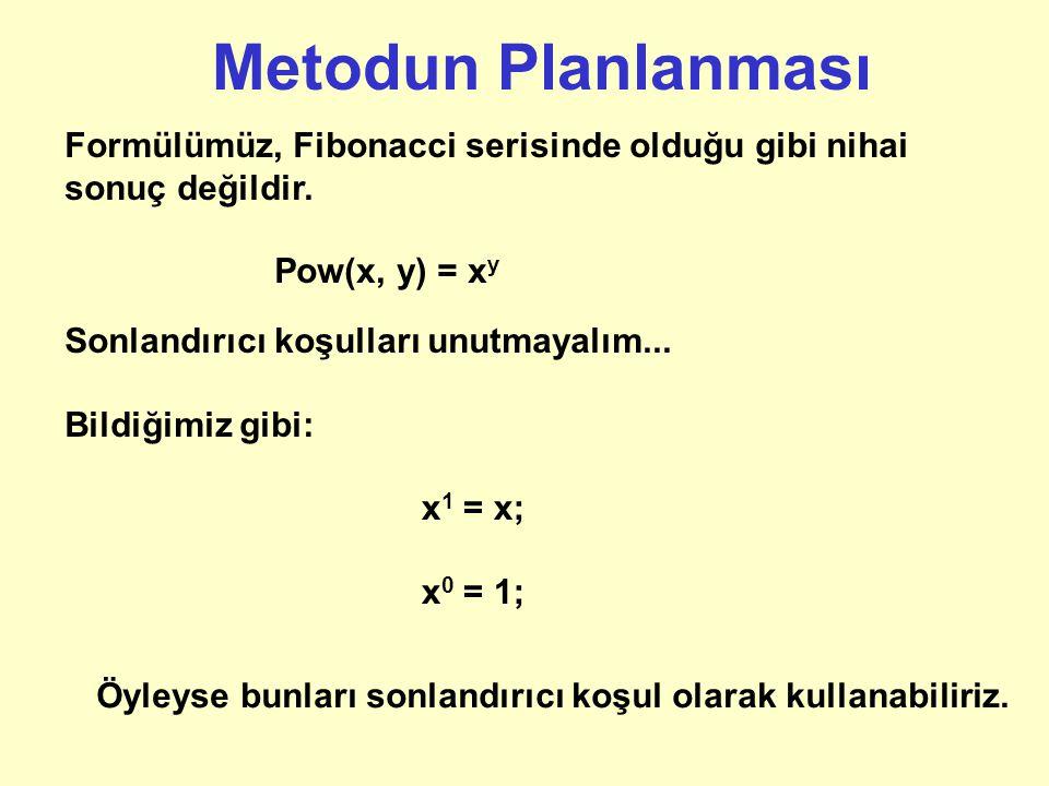 Bir örnek daha Aşağıdaki formülü çözmek için bir metod yazalım: Pow(x, y) = x y Diğer bir deyişle, metod kendisine parametre olarak verilen sayılardan birini diğerinin üstü olarak hesaplayacaktır: public static double pow (double value, int exponent);