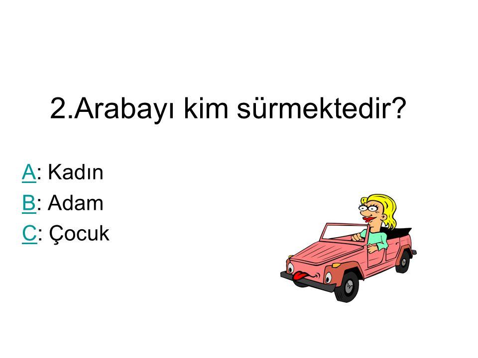 2.Arabayı kim sürmektedir? AA: Kadın BB: Adam CC: Çocuk