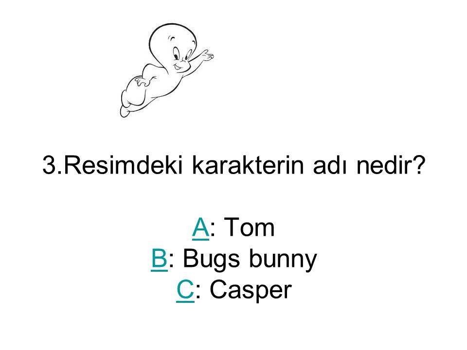 3.Resimdeki karakterin adı nedir? A: Tom B: Bugs bunny C: Casper