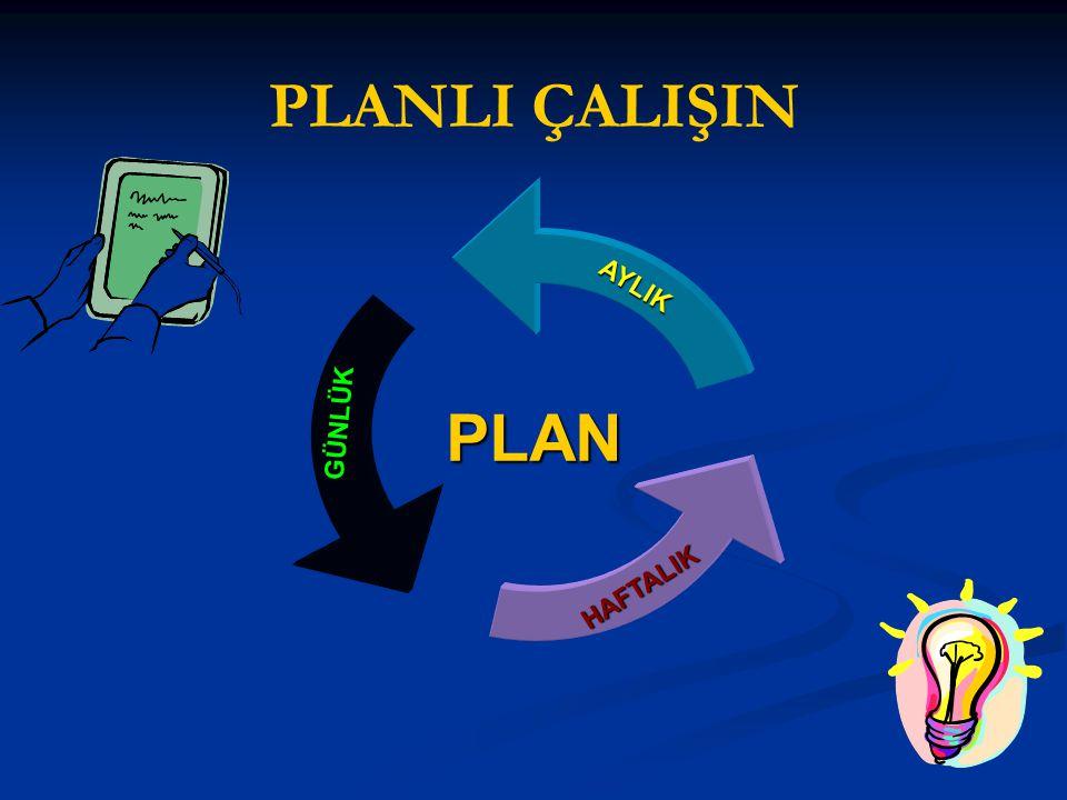 PLANLI ÇALIŞIN PLAN PLANAYLIKGÜNLÜK HAFTALIK
