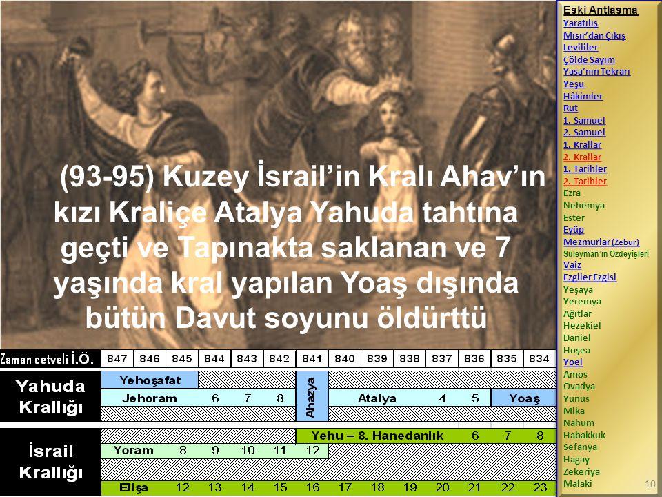 (93-95) Kuzey İsrail'in Kralı Ahav'ın kızı Kraliçe Atalya Yahuda tahtına geçti ve Tapınakta saklanan ve 7 yaşında kral yapılan Yoaş dışında bütün Davu