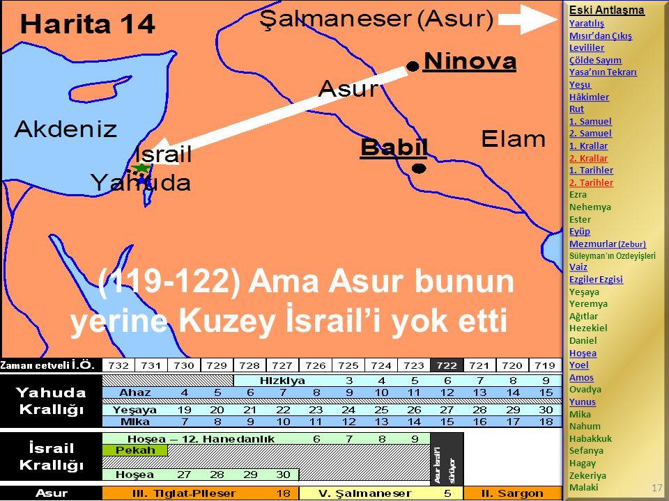 (119-122) Ama Asur bunun yerine Kuzey İsrail'i yok etti Eski Antlaşma Yaratılış Mısır'dan Çıkış Levililer Çölde Sayım Yasa'nın Tekrarı Yeşu Hâkimler R