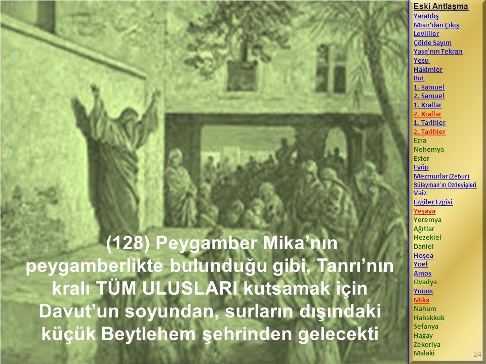 (128) Peygamber Mika'nın peygamberlikte bulunduğu gibi, Tanrı'nın kralı TÜM ULUSLARI kutsamak için Davut'un soyundan, surların dışındaki küçük Beytleh