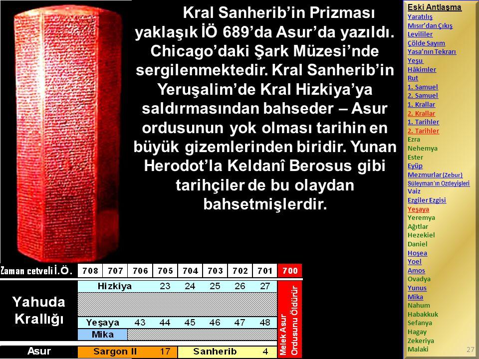 Kral Sanherib'in Prizması yaklaşık İÖ 689'da Asur'da yazıldı. Chicago'daki Şark Müzesi'nde sergilenmektedir. Kral Sanherib'in Yeruşalim'de Kral Hizkiy
