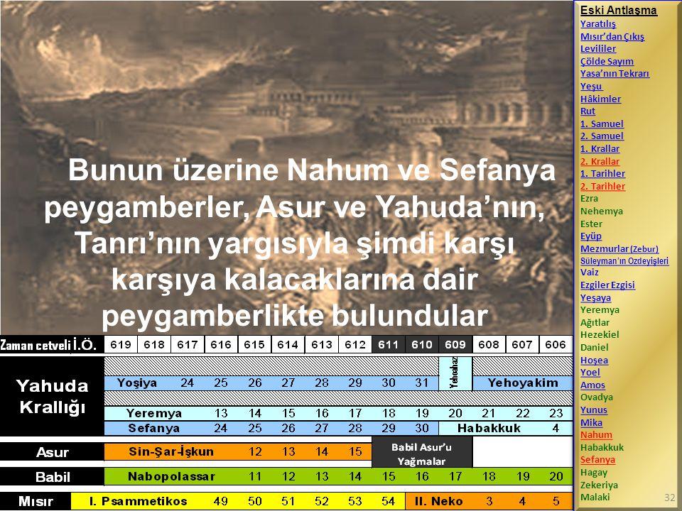 Bunun üzerine Nahum ve Sefanya peygamberler, Asur ve Yahuda'nın, Tanrı'nın yargısıyla şimdi karşı karşıya kalacaklarına dair peygamberlikte bulundular