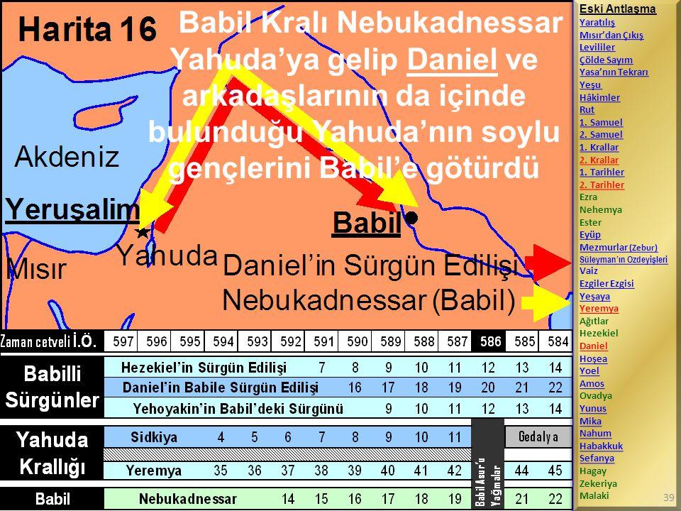 Babil Kralı Nebukadnessar Yahuda'ya gelip Daniel ve arkadaşlarının da içinde bulunduğu Yahuda'nın soylu gençlerini Babil'e götürdü Eski Antlaşma Yarat