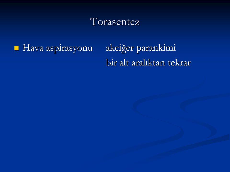 Torasentez Hava aspirasyonuakciğer parankimi Hava aspirasyonuakciğer parankimi bir alt aralıktan tekrar bir alt aralıktan tekrar