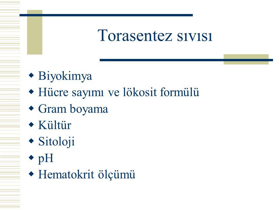 Torasentez sıvısı  Biyokimya  Hücre sayımı ve lökosit formülü  Gram boyama  Kültür  Sitoloji  pH  Hematokrit ölçümü