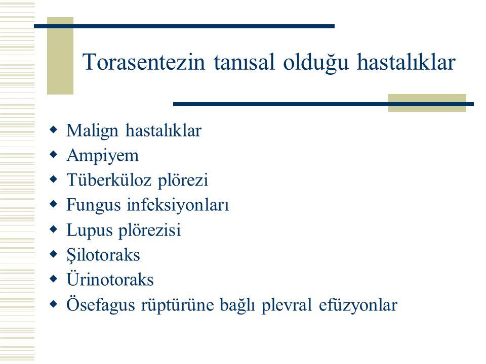 Torasentezin tanısal olduğu hastalıklar  Malign hastalıklar  Ampiyem  Tüberküloz plörezi  Fungus infeksiyonları  Lupus plörezisi  Şilotoraks  Ü