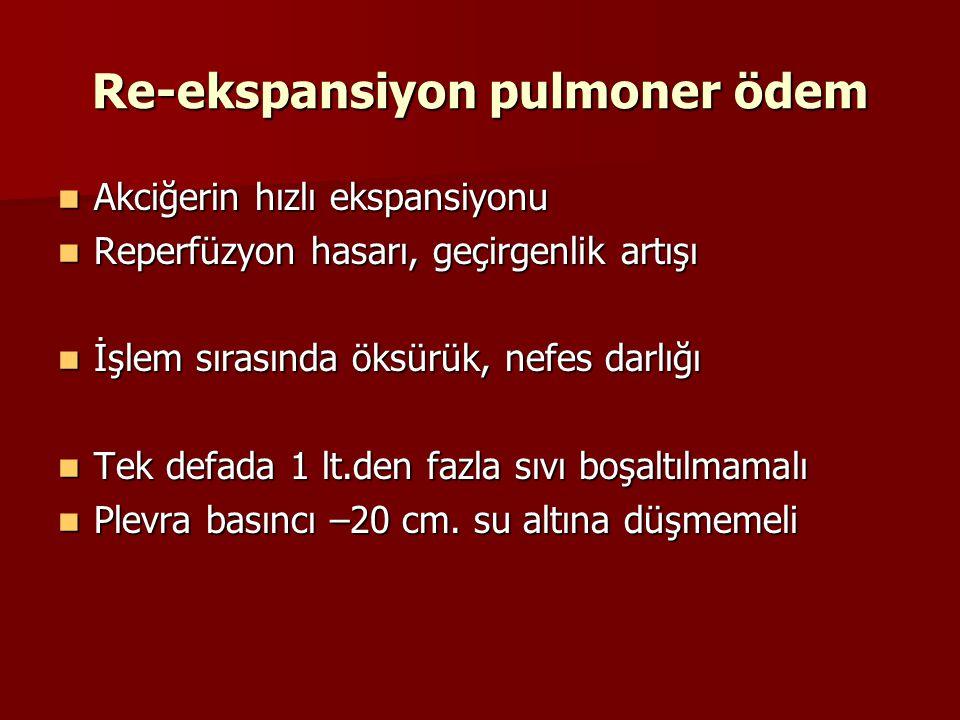 Re-ekspansiyon pulmoner ödem Akciğerin hızlı ekspansiyonu Akciğerin hızlı ekspansiyonu Reperfüzyon hasarı, geçirgenlik artışı Reperfüzyon hasarı, geçi