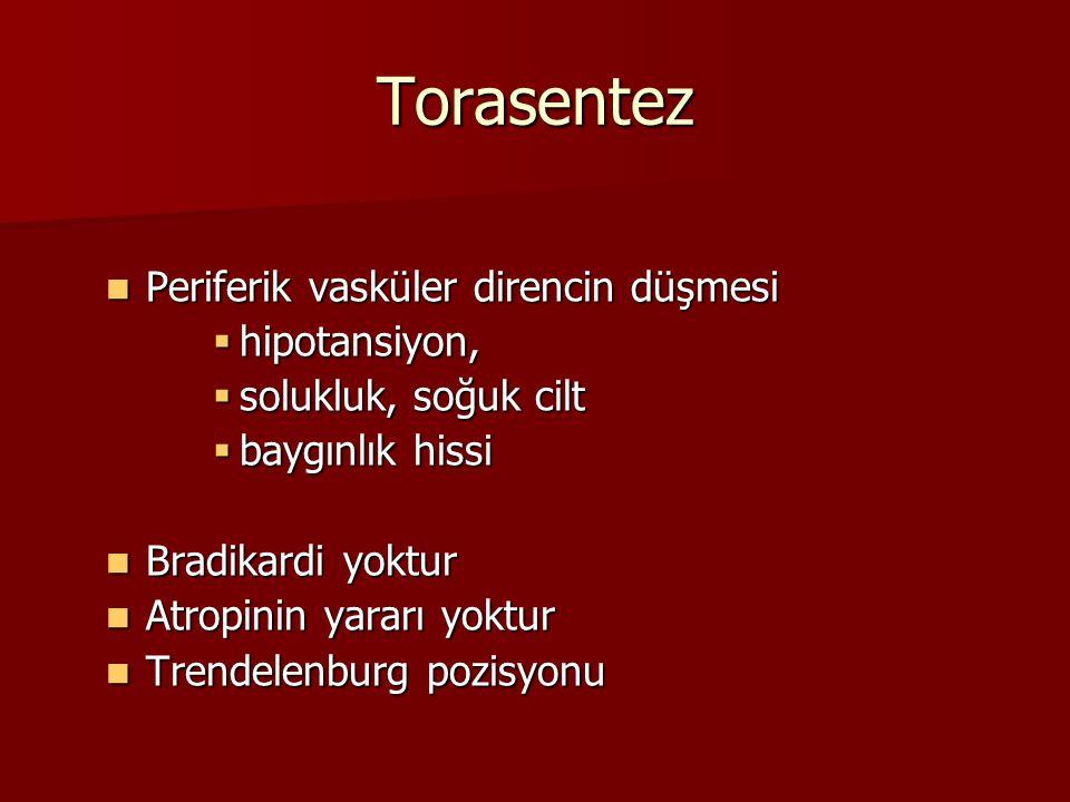 Torasentez Periferik vasküler direncin düşmesi Periferik vasküler direncin düşmesi  hipotansiyon,  solukluk, soğuk cilt  baygınlık hissi Bradikardi