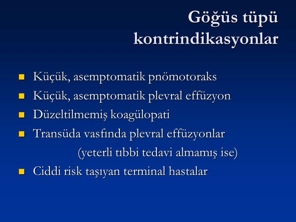 Göğüs tüpü kontrindikasyonlar Küçük, asemptomatik pnömotoraks Küçük, asemptomatik pnömotoraks Küçük, asemptomatik plevral effüzyon Küçük, asemptomatik