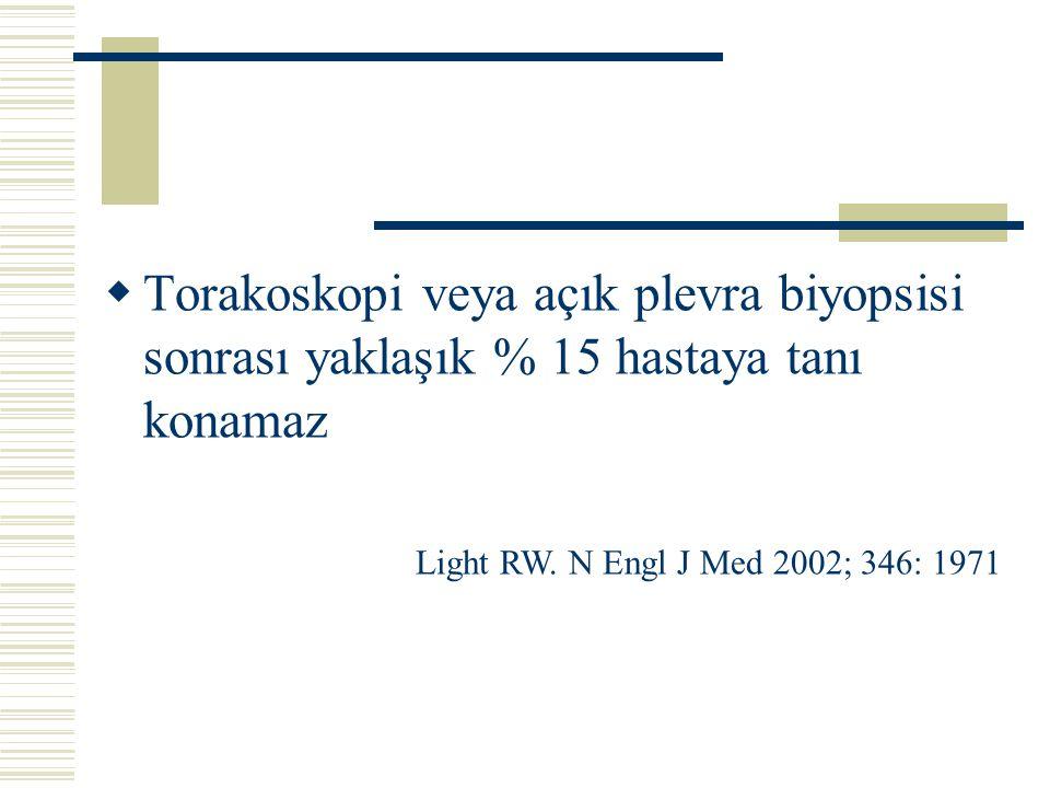  Torakoskopi veya açık plevra biyopsisi sonrası yaklaşık % 15 hastaya tanı konamaz Light RW. N Engl J Med 2002; 346: 1971