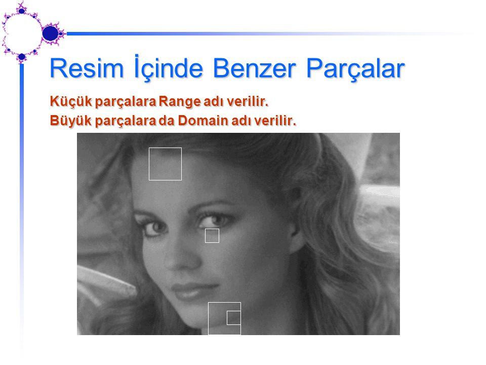 Resim İçinde Benzer Parçalar Küçük parçalara Range adı verilir. Büyük parçalara da Domain adı verilir.