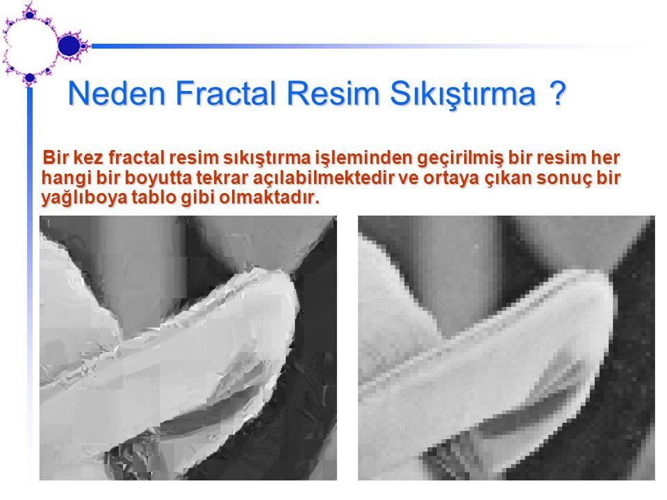 Neden Fractal Resim Sıkıştırma ? Bir kez fractal resim sıkıştırma işleminden geçirilmiş bir resim her hangi bir boyutta tekrar açılabilmektedir ve ort