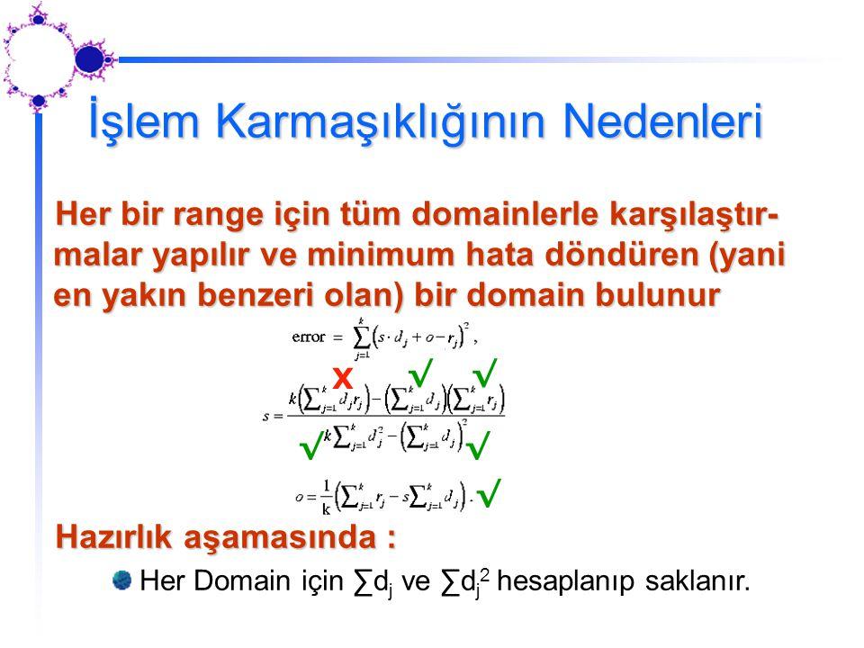 Her bir range için tüm domainlerle karşılaştır- malar yapılır ve minimum hata döndüren (yani en yakın benzeri olan) bir domain bulunur Hazırlık aşamas