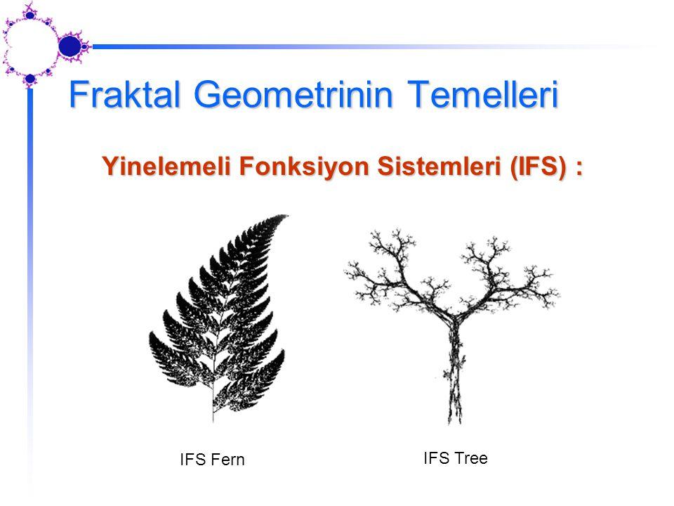 Fraktal Geometrinin Temelleri Yinelemeli Fonksiyon Sistemleri (IFS) : IFS Fern IFS Tree