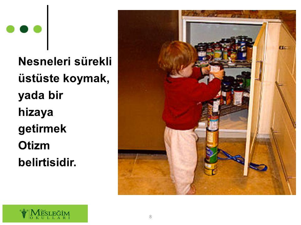 Otizmin Belirtileri ○ Eğer çocuğunuz: Başkalarıyla göz teması kurmuyorsa, İsmini söylediğinizde bakmıyorsa, Söyleneni işitmiyor gibi davranıyorsa, Parmağıyla ile istediği şeyi göstermiyorsa, Oyuncaklarla oynamayı bilmiyorsa, Akranlarının oynadığı oyunlara ilgi göstermiyorsa, 9