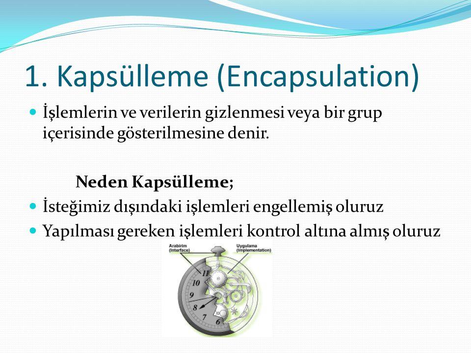 1. Kapsülleme (Encapsulation) İşlemlerin ve verilerin gizlenmesi veya bir grup içerisinde gösterilmesine denir. Neden Kapsülleme; İsteğimiz dışındaki