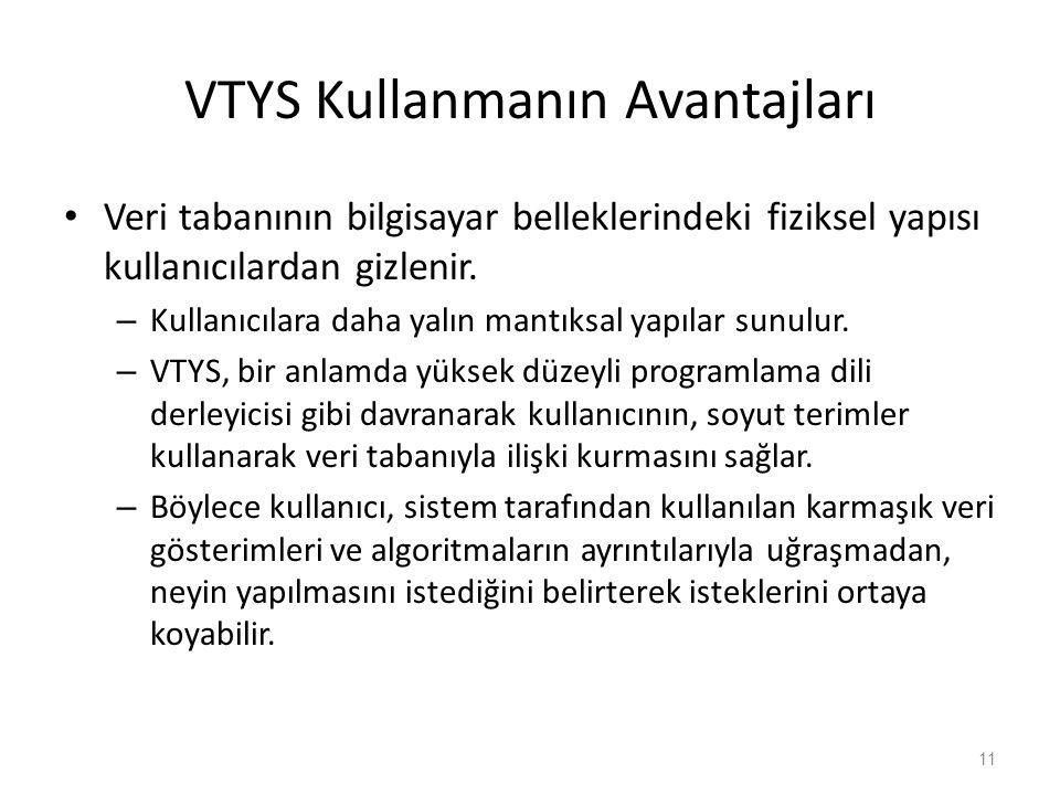 VTYS Kullanmanın Avantajları Veri tabanının bilgisayar belleklerindeki fiziksel yapısı kullanıcılardan gizlenir.