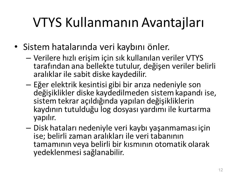 VTYS Kullanmanın Avantajları Sistem hatalarında veri kaybını önler.