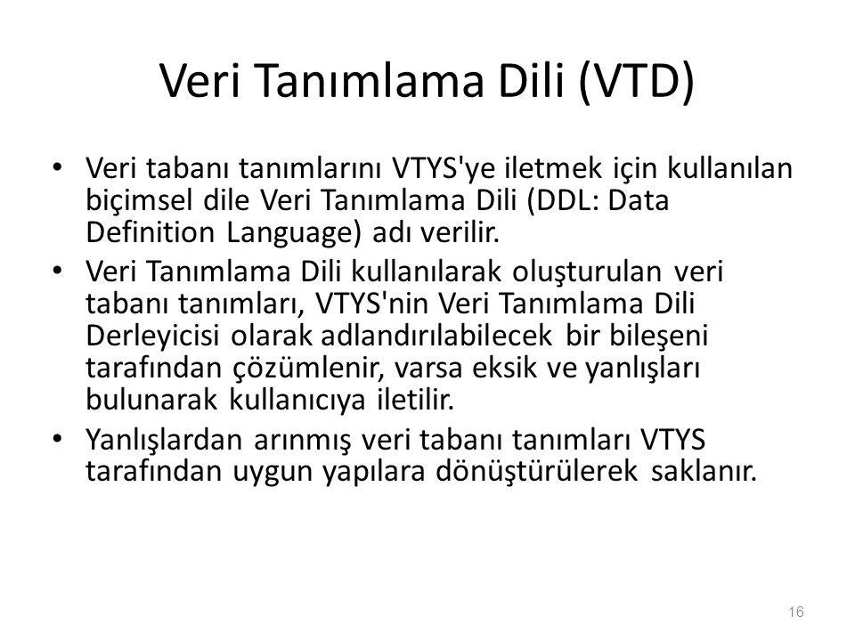 Veri Tanımlama Dili (VTD) Veri tabanı tanımlarını VTYS'ye iletmek için kullanılan biçimsel dile Veri Tanımlama Dili (DDL: Data Definition Language) ad