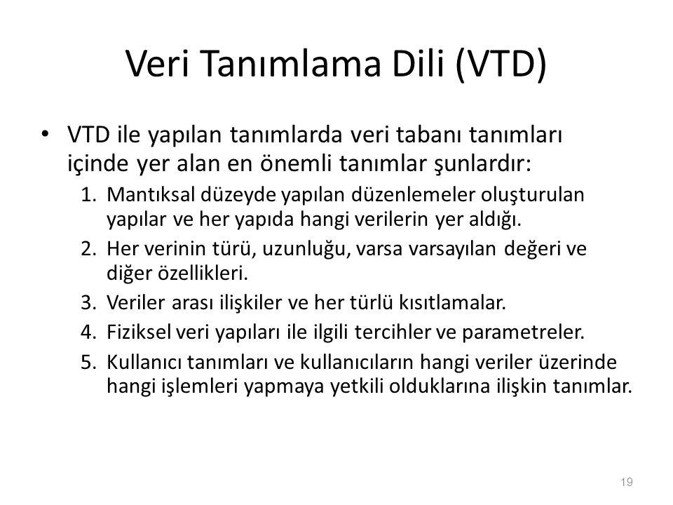 Veri Tanımlama Dili (VTD) VTD ile yapılan tanımlarda veri tabanı tanımları içinde yer alan en önemli tanımlar şunlardır: 1.Mantıksal düzeyde yapılan düzenlemeler oluşturulan yapılar ve her yapıda hangi verilerin yer aldığı.