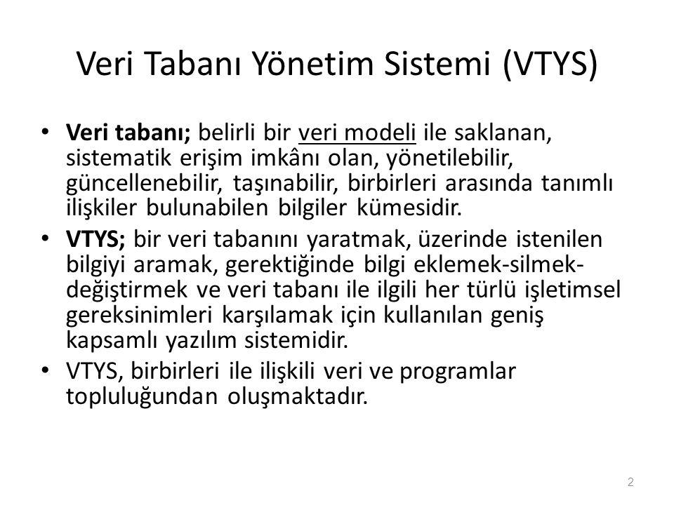 Veri Tabanı Yönetim Sistemi (VTYS) Veri tabanı; belirli bir veri modeli ile saklanan, sistematik erişim imkânı olan, yönetilebilir, güncellenebilir, t