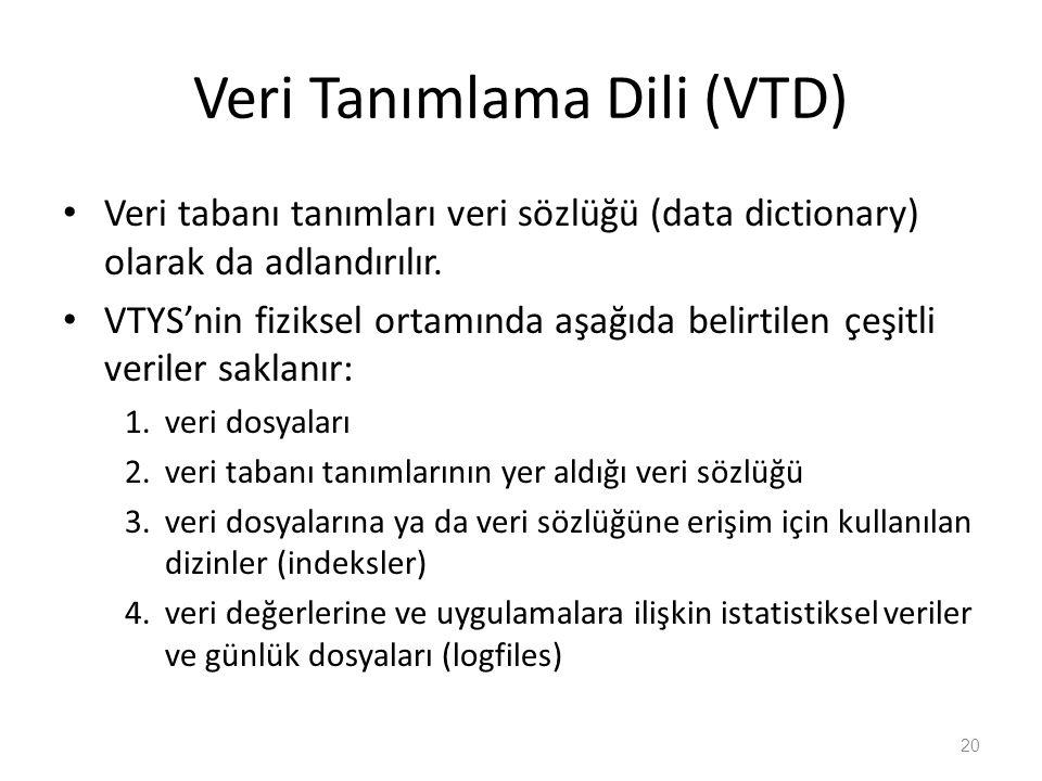Veri Tanımlama Dili (VTD) Veri tabanı tanımları veri sözlüğü (data dictionary) olarak da adlandırılır. VTYS'nin fiziksel ortamında aşağıda belirtilen