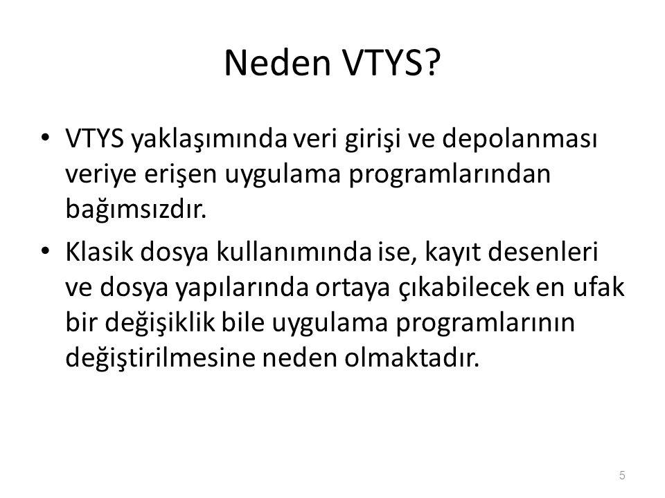 Neden VTYS? VTYS yaklaşımında veri girişi ve depolanması veriye erişen uygulama programlarından bağımsızdır. Klasik dosya kullanımında ise, kayıt dese