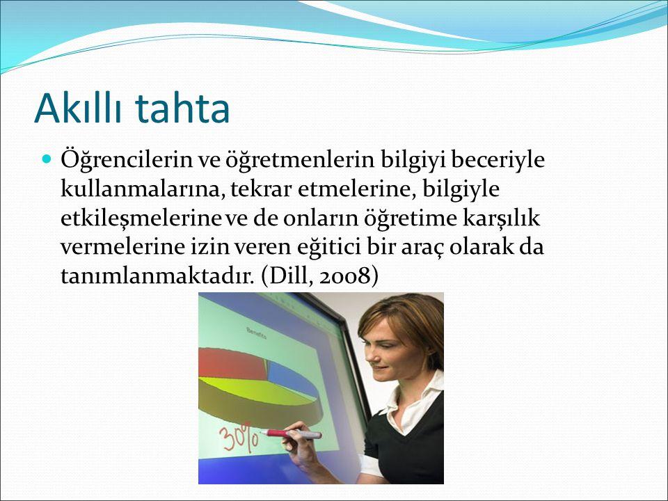 Akıllı tahta Öğrencilerin ve öğretmenlerin bilgiyi beceriyle kullanmalarına, tekrar etmelerine, bilgiyle etkileşmelerine ve de onların öğretime karşıl