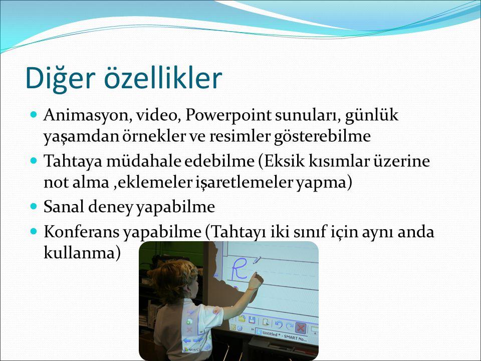 Diğer özellikler Animasyon, video, Powerpoint sunuları, günlük yaşamdan örnekler ve resimler gösterebilme Tahtaya müdahale edebilme (Eksik kısımlar üz