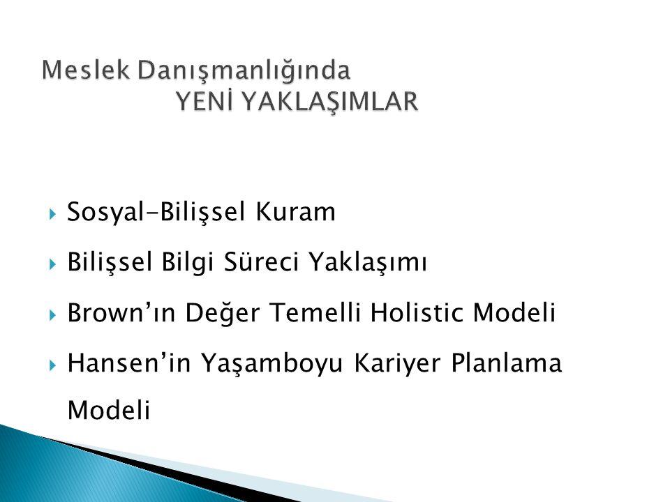  Sosyal-Bilişsel Kuram  Bilişsel Bilgi Süreci Yaklaşımı  Brown'ın Değer Temelli Holistic Modeli  Hansen'in Yaşamboyu Kariyer Planlama Modeli