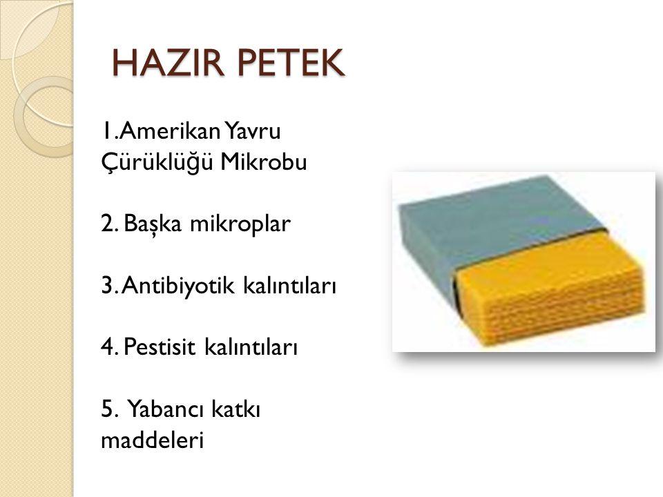HAZIR PETEK 1.Amerikan Yavru Çürüklü ğ ü Mikrobu 2. Başka mikroplar 3. Antibiyotik kalıntıları 4. Pestisit kalıntıları 5. Yabancı katkı maddeleri