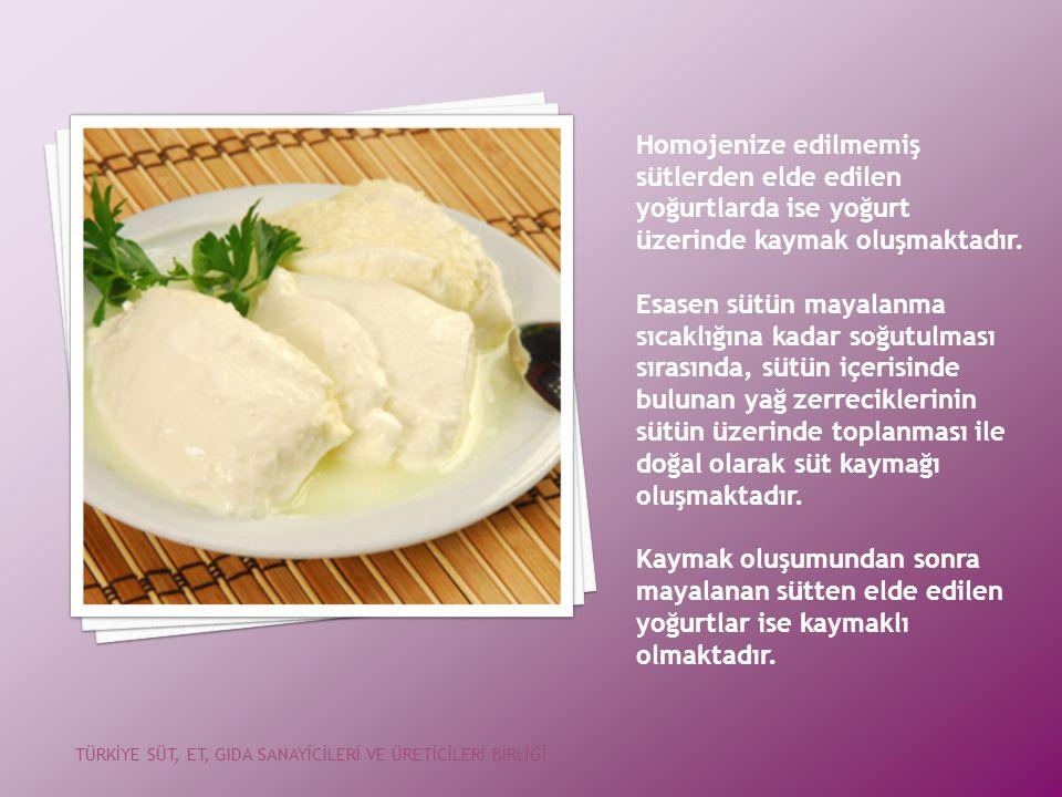 Homojenize edilmemiş sütlerden elde edilen yoğurtlarda ise yoğurt üzerinde kaymak oluşmaktadır.
