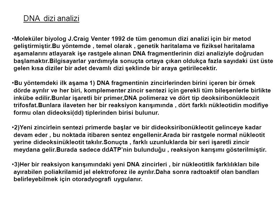 DNA dizi analizi Moleküler biyolog J.Craig Venter 1992 de tüm genomun dizi analizi için bir metod geliştirmiştir.Bu yöntemde, temel olarak, genetik ha