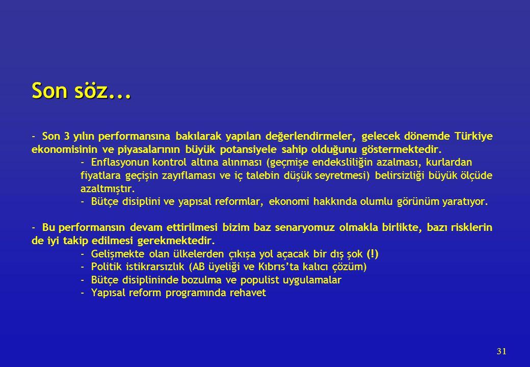 31 Son söz... Son söz... - Son 3 yılın performansına bakılarak yapılan değerlendirmeler, gelecek dönemde Türkiye ekonomisinin ve piyasalarının büyük p