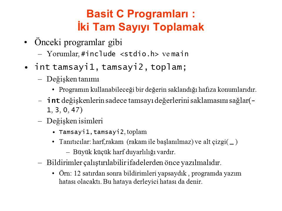 Basit C Programları : İki Tam Sayıyı Toplamak Önceki programlar gibi –Yorumlar, #include ve main int tamsayi1, tamsayi2, toplam; –Değişken tanımı Prog