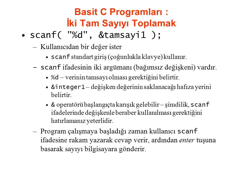 Basit C Programları : İki Tam Sayıyı Toplamak scanf(