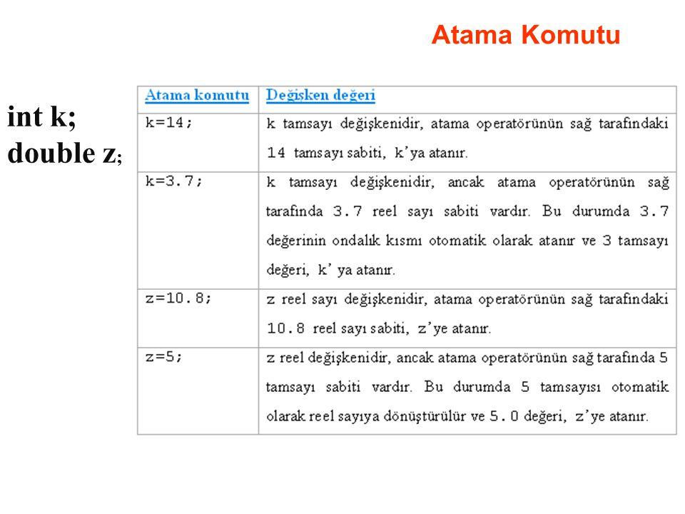 Atama Komutu int k; double z ;