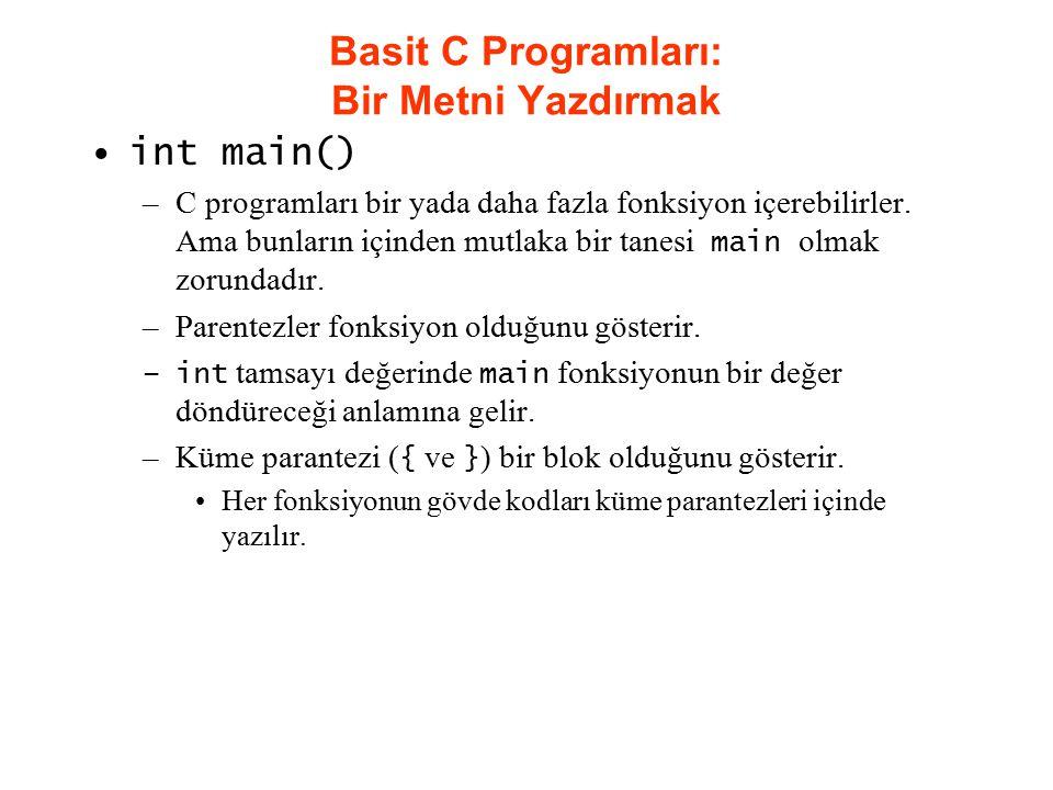 Basit C Programları: Bir Metni Yazdırmak int main() –C programları bir yada daha fazla fonksiyon içerebilirler. Ama bunların içinden mutlaka bir tanes