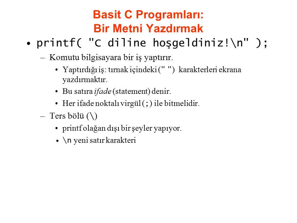Basit C Programları: Bir Metni Yazdırmak printf(