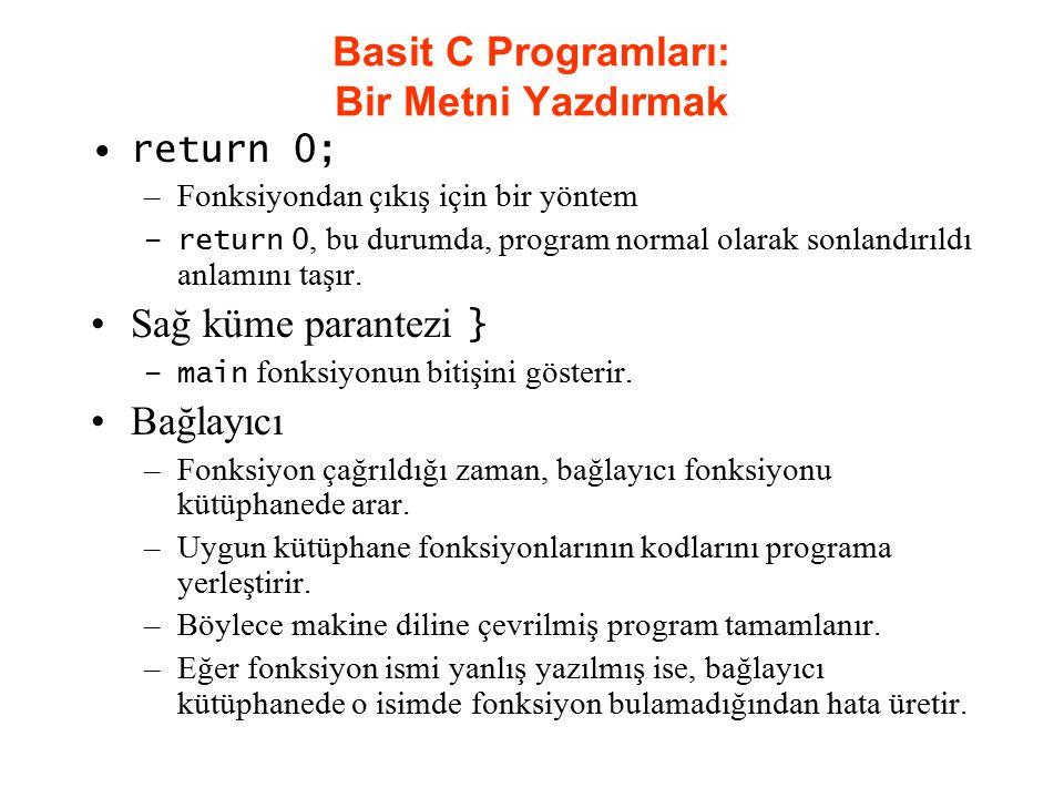 return 0; –Fonksiyondan çıkış için bir yöntem –return 0, bu durumda, program normal olarak sonlandırıldı anlamını taşır. Sağ küme parantezi } –main fo