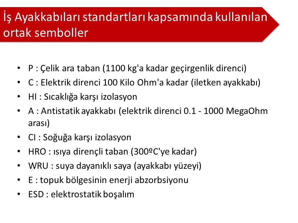 P : Çelik ara taban (1100 kg a kadar geçirgenlik direnci) C : Elektrik direnci 100 Kilo Ohm a kadar (iletken ayakkabı) HI : Sıcaklığa karşı izolasyon A : Antistatik ayakkabı (elektrik direnci 0.1 - 1000 MegaOhm arası) CI : Soğuğa karşı izolasyon HRO : ısıya dirençli taban (300ºC ye kadar) WRU : suya dayanıklı saya (ayakkabı yüzeyi) E : topuk bölgesinin enerji abzorbsiyonu ESD : elektrostatik boşalım İş Ayakkabıları standartları kapsamında kullanılan ortak semboller