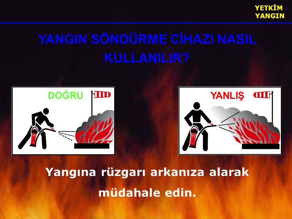 YETKİM YANGIN YANGIN SÖNDÜRME CİHAZI NASIL KULLANILIR? Yangına rüzgarı arkanıza alarak müdahale edin. DOĞRUYANLIŞ