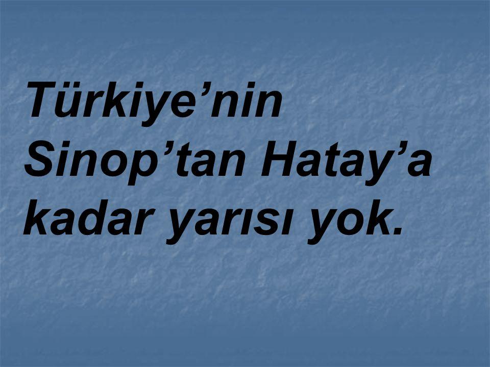 Türkiye'nin Sinop'tan Hatay'a kadar yarısı yok.