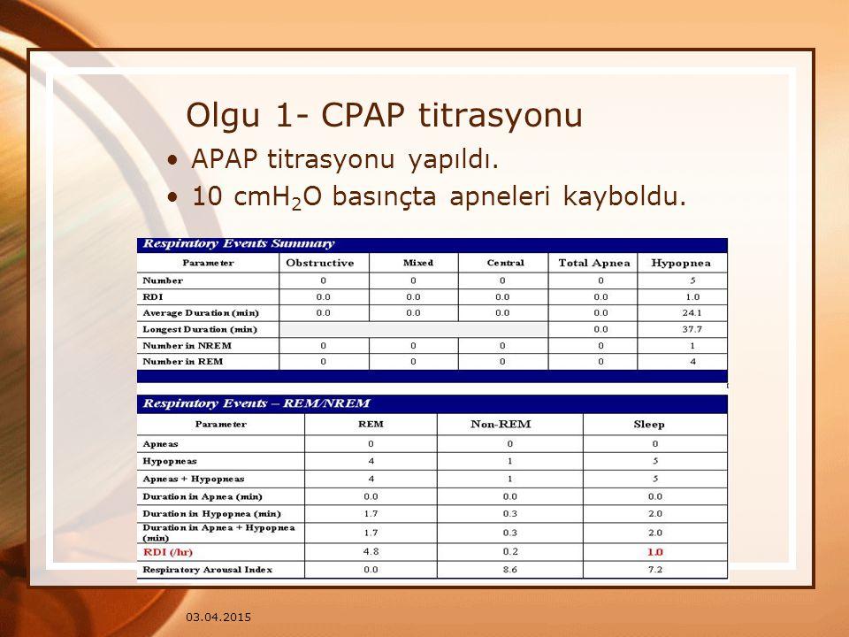 03.04.2015 Olgu 1- CPAP titrasyonu APAP titrasyonu yapıldı. 10 cmH 2 O basınçta apneleri kayboldu.