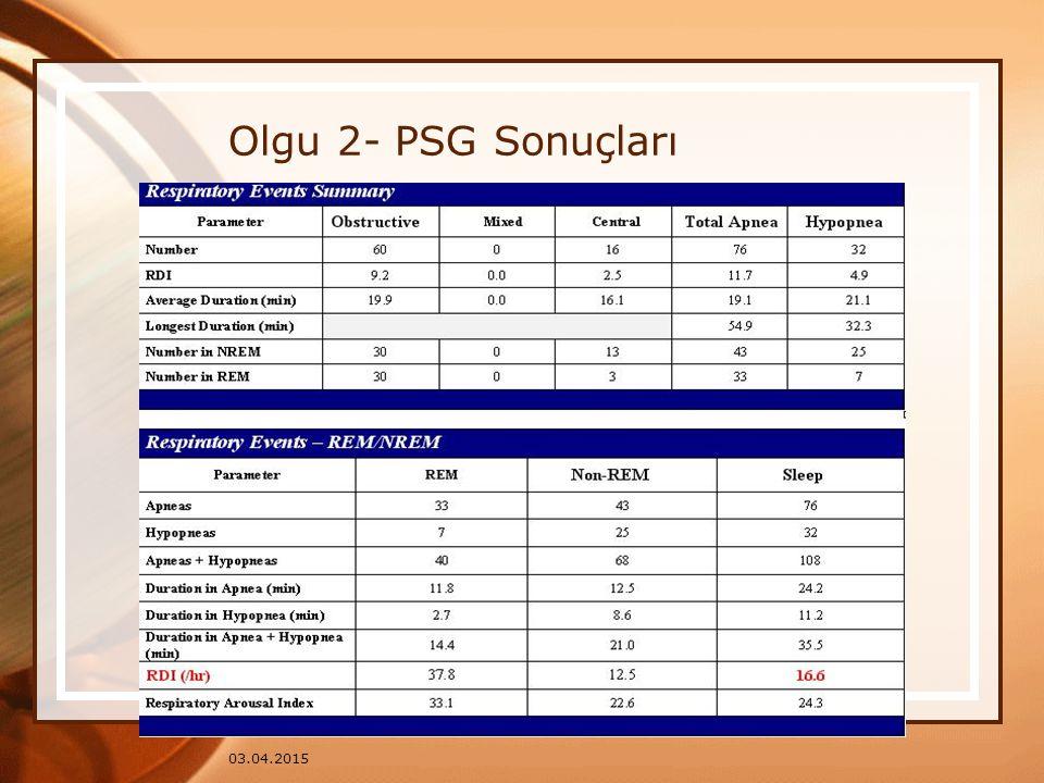 03.04.2015 Olgu 2- PSG Sonuçları