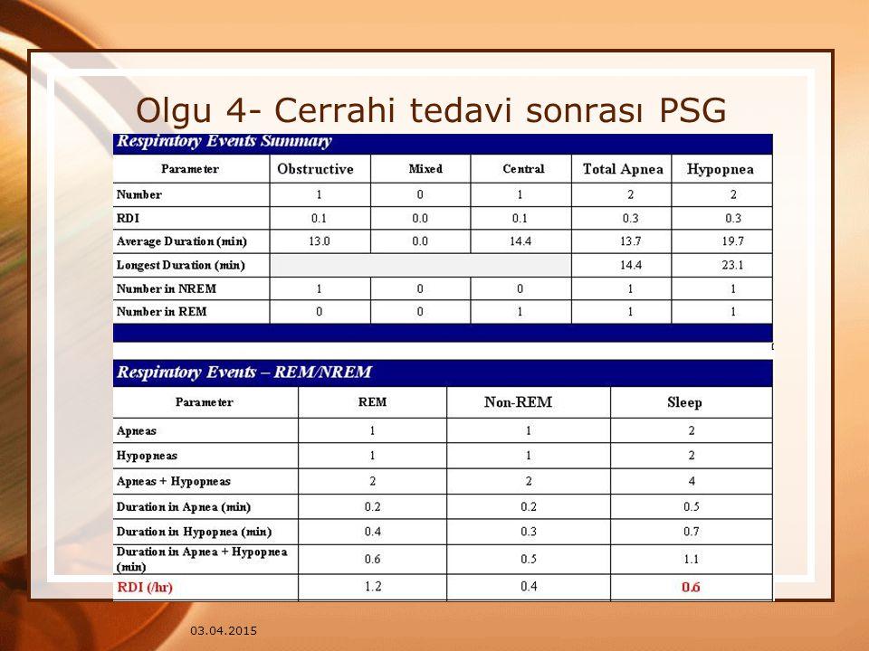 03.04.2015 Olgu 4- Cerrahi tedavi sonrası PSG