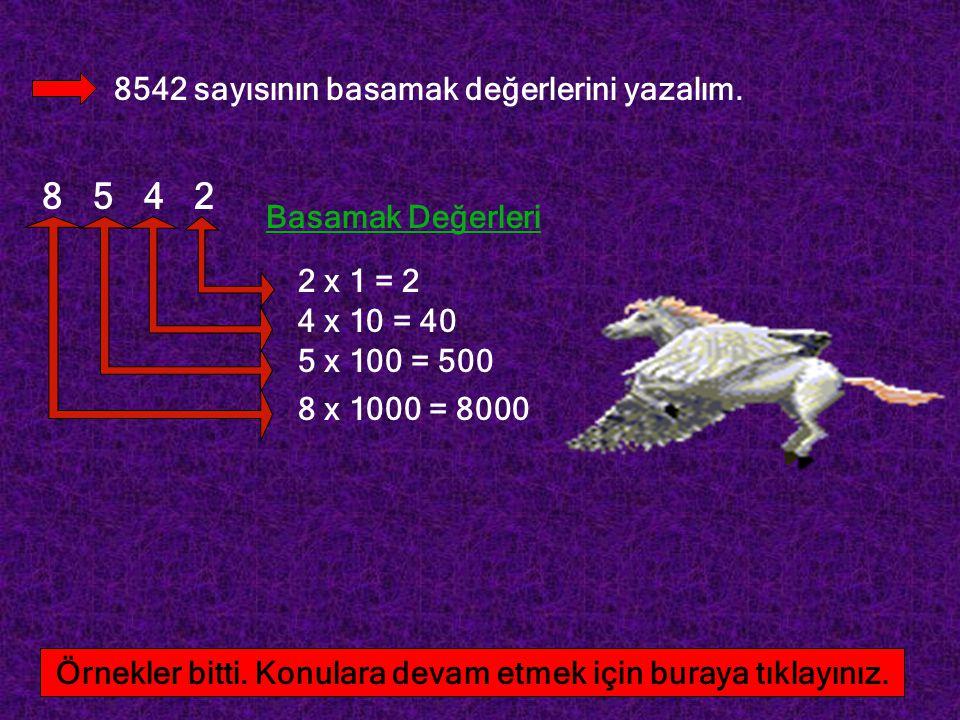8542 sayısının basamak değerlerini yazalım. 8 5 4 2 2 x 1 = 2 4 x 10 = 40 5 x 100 = 500 8 x 1000 = 8000 Basamak Değerleri Örnekler bitti. Konulara dev